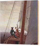 On The Sailing Boat Wood Print