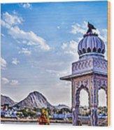 On The Shores Of Pushkar Lake Wood Print