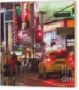 On The Town - Times Square Wood Print