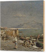 On The Waterfront At Palermo Wood Print by Franz Richard Unterberger
