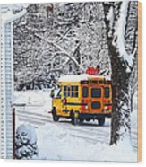 On The Way To School In Winter Wood Print