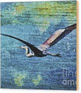 On The Wings Of Blue Wood Print