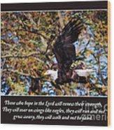 On Wings Of Eagles -in Brown Wood Print