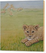 Once There Was A Lion Named Leo Wood Print