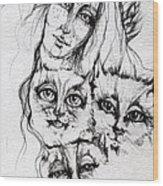 One Angel Three Cats Wood Print
