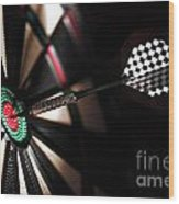 One Arrow In The Centre Of A Dart Board Wood Print