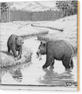 One Bear Speaks To Another As They Catch Fish Wood Print