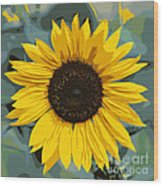One Bright Sunflower - Digital Art Wood Print