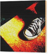One Converse In A Ray Of Sun Wood Print