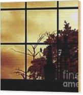 One Crow Outside My Window Wood Print