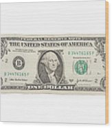 One Dollar Bill On White Background Wood Print
