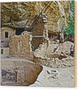 One End Of Spruce Tree House On Chapin Mesa In Mesa Verde National Park-colorado Wood Print