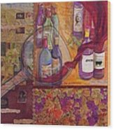 One Glass Too Many - Cabernet Wood Print by Debi Starr