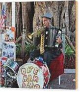 One Man Band - Miami Florida Wood Print