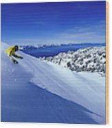 One Man Skiing In Powder High Wood Print