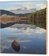 One Mile Lake One Rock Reflection Pemberton B.c Canada Wood Print