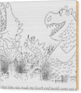 One Monster Devouring A City Wood Print