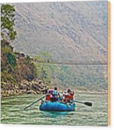 One Of Many Suspension Bridges Crossing The Seti River In Nepal Wood Print