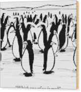 One Penguin In A Large Group Of Penguins Speaks Wood Print