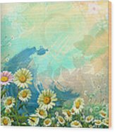 One Pink Daisy Wood Print