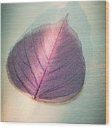 One Purple Leaf Wood Print