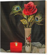 One Red Christmas Rose Wood Print