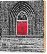 One Red Door Wood Print