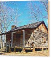 One Room Pioneer Log Cabin  Wood Print