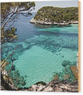 One Step To Paradise - Cala Mitjana Beach In Menorca Is A Turquoise A Cristaline Water Paradise Wood Print