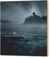 One Stormy Night In Maine Wood Print by Edward Fielding