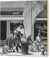 One Sunday On Main Street - Homeless Man - Black And White Wood Print