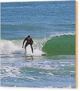 One Surfer Wood Print