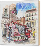 Onion And Garlic Street Seller In Siracusa Wood Print