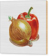 Onion And Red Pepper Wood Print