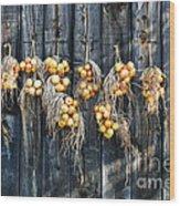 Onions And Barnboard Wood Print