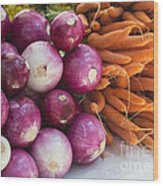 Onions And Carrots Wood Print