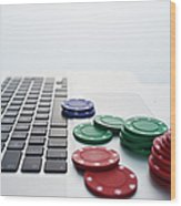 Online Gambling Wood Print