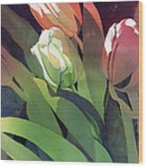 Only Three Tulips Wood Print