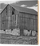 Ontario Barn Monochrome Wood Print