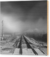 Onward - Railroad Tracks - Fog Wood Print