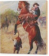 Oops          Buckaroo Western Oil Painting Wood Print