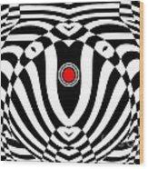 Op Art Geometric Black White Red  Abstract No.383. Wood Print by Drinka Mercep