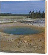 Opal Pool Panorama Yellowstone Wood Print