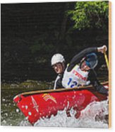 Open Canoe Whitewater Race - Panorama Wood Print