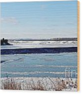 Open Creek - Ice Fishing - Winter Wood Print