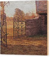 Open Gate By Cottage Wood Print