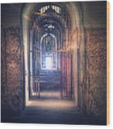 Open Gate To Prison Hallway Wood Print