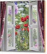 Open Window View Onto Wild Flower Garden Wood Print