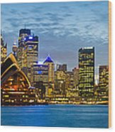 Opera House And Buildings Lit Wood Print