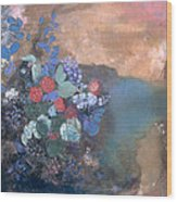 Ophelia Among The Flowers Wood Print by Odilon Redon